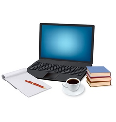laptop and coffee and notepad vector image vector image