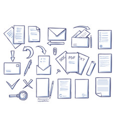 Office papers set colorless vector