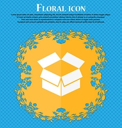 Open box icon Floral flat design on a blue vector image