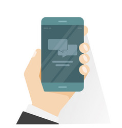 smartphone in hand showing chatting app vector image