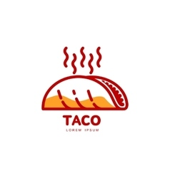 Stylized hot freshly made mexican taco logo vector