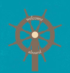 vitage poster with ship wheel vector image vector image