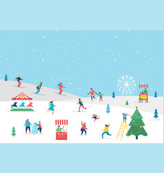 winter sport scene greeting card vector image