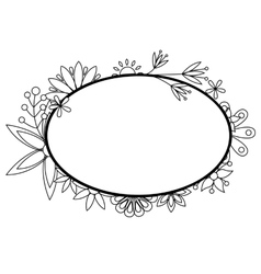 Banner with flowers black and white vector image vector image