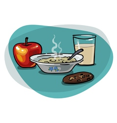 Breakfast with oatmeal and apple vector image vector image