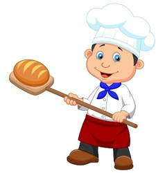 Cartoon a baker with bread vector image