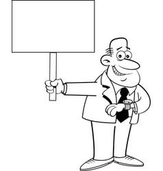 cartoon man looking at his watch and holding a sig vector image