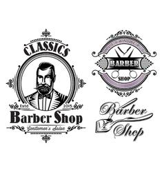 set of emblems on a theme barber shop vector image vector image