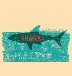 shark swimming in sea on old paper poster vector image vector image