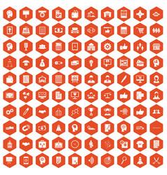 100 business strategy icons hexagon orange vector image