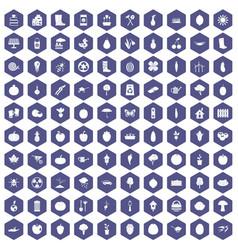 100 garden icons hexagon purple vector