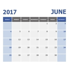 2017 June calendar week starts on Sunday vector image