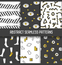 abstract seamless patterns set hipster style vector image