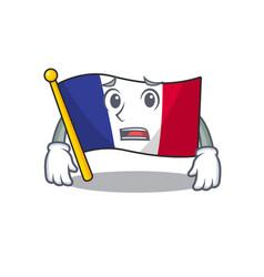Afraid flag france in cartoon shape vector