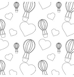 air ballon love heart valentines day pattern vector image