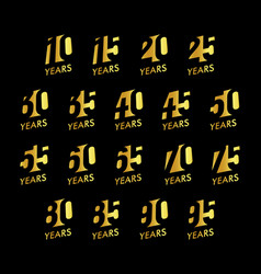 anniversary numbers set birthday vector image