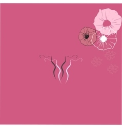 Art drawing icon of uterus on color background vector