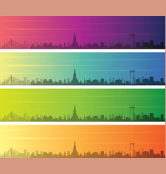 bangkok multiple color gradient skyline banner vector image