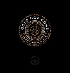 Beer pub emblem hop cone logo craft beer ale vector