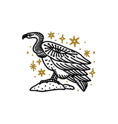 Bird vulture boho magical vintage distressed art vector