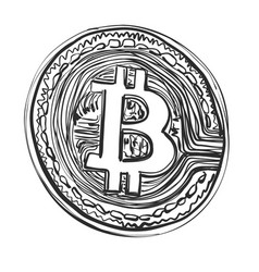 Bitcoin hand drawn sketch cryptography vector
