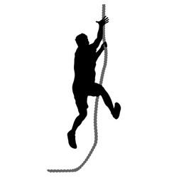 Black silhouette mountain climber climbing a vector