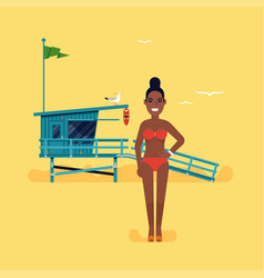 black woman having vacation vector image