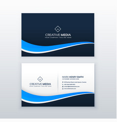 blue business card design with wavy shape vector image