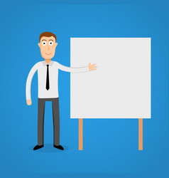 Business man presentation on white board vector