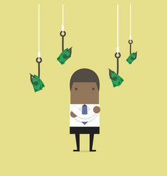 businessman selects fishing hooks with money vector image