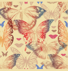Butterfly seamless pattern in retro style vector