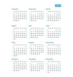 Calendar for 2018 year on white background design vector image