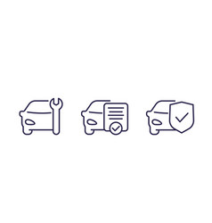 car service line icons on white vector image
