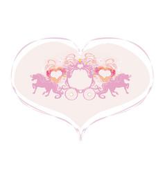 Carriage - vintage floral wedding icon vector