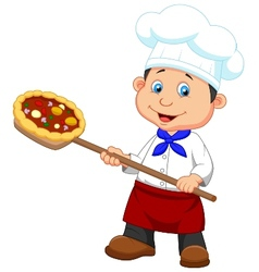 Cartoon a baker with Pizza vector