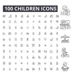 children editable line icons 100 set vector image
