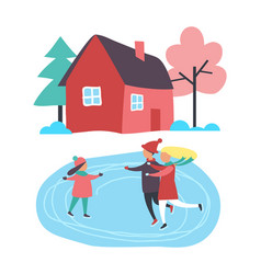 children skating on ice rink near country cottage vector image