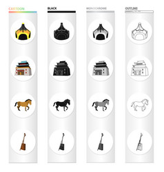 country mongolia cartoon icons in set collection vector image