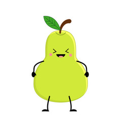 cute cartoon pear kawai pear vector image