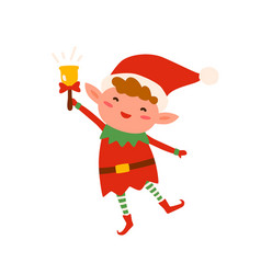 cute christmas elf in red costume and hat ringing vector image