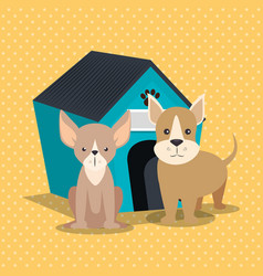 cute dogs with wooden house vector image