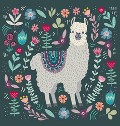 Cute llama with floral elements template for card vector