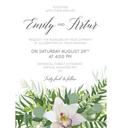 Cute wedding floral invitation save date card vector