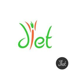 diet word elegant logo thin human figure vector image