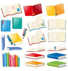 Different design of book and notebooks vector