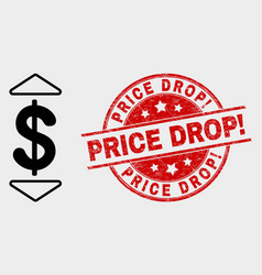 Dollar up down icon and distress price drop vector