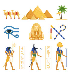 Egypt set egyptian ancient symbols of the power vector