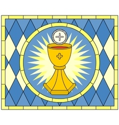 Eucharist Christian Symbol stained glass vector