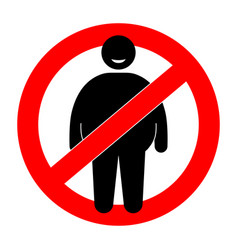 fat man with restriction sign overweight man vector image