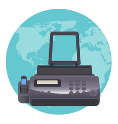 fax machine telecopying or telefax telefacsimile vector image